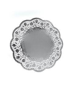 Dekoračné krajky okrúhle, strieborné Ø 30 cm [4 ks]