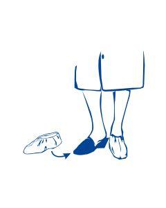 Jednorázové návleky na obuv modré 40 x 14 cm (CPE) [100 ks]