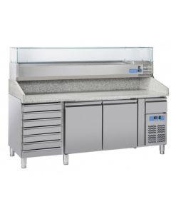 Dvojdverový pizza-stôl so zasuvkami a s chladiacou vitrínou COOLHEAD®